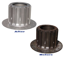 Aircraft brake shot blasting before and after
